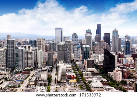 View of Seattle cityscape. - stock photo