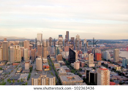 View of Seattle Downtown at Sunset - stock photo