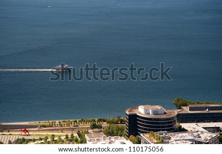 View of Seattle from the Space Needle - stock photo