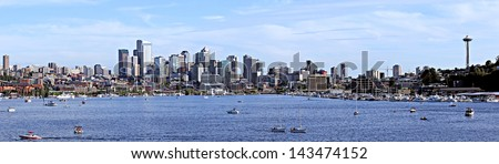 View of Seattle over Lake Union. - stock photo