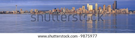 View of Seattle skyline shortly before dark - stock photo