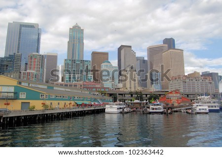 View of Seattle Waterfront on a Cloudy Day
