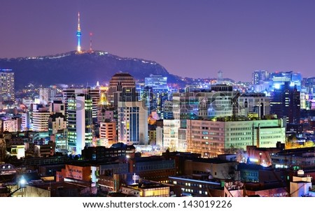 View of Seoul, South Korea at night.