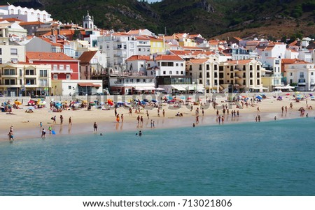 view of Sesimbra beach in Natural Park of Arrabida, Portugal