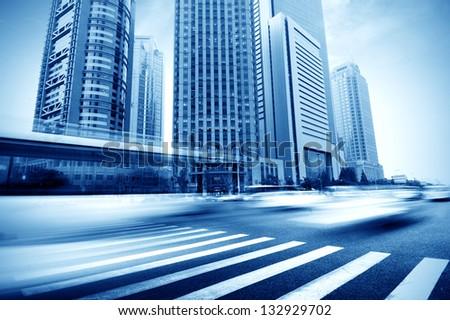View of shanghai business district from Esplanade bridge - stock photo