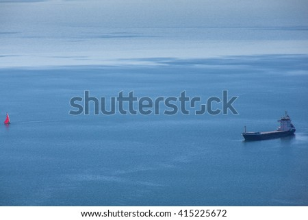 View of Ship on the adriatic sea - stock photo