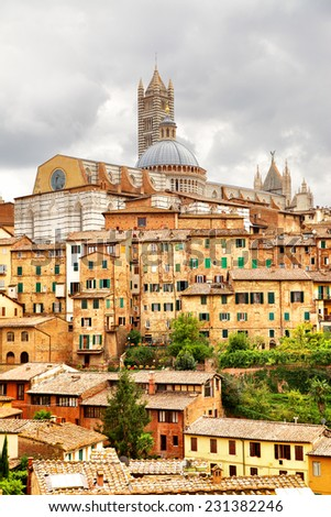 View of Siena with cathedral , Italy - stock photo