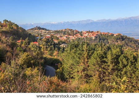 View of Sighnaghi and the Caucasus Mountain, Georgia - stock photo