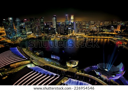 View of Singapore city skyline at night - stock photo