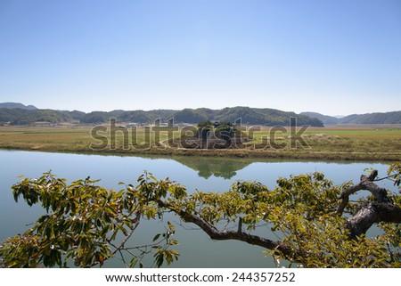 View of Sisadan from Cheongwangdae at Dosanseowon in Korea. - stock photo