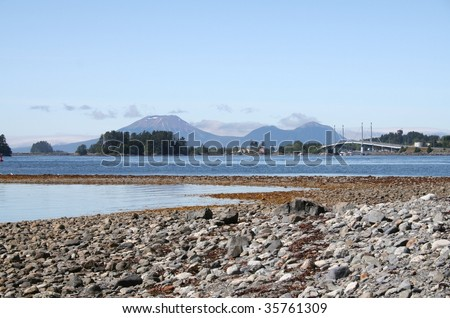 View of Sitka, Alaska from Sitka National Historic Park (Totem Park) - stock photo