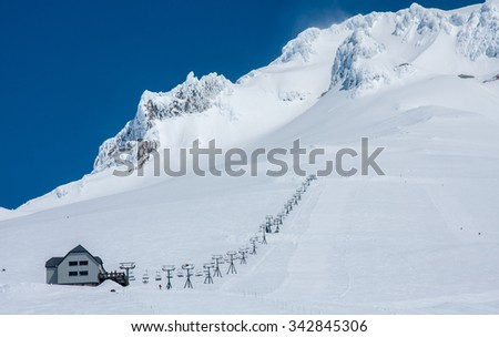 View of Ski-lift heading up Mt. Hood in Oregon, USA - stock photo