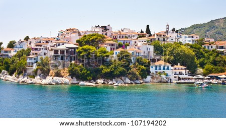 View of Skiathos town and harbour in Greece, summer 2012
