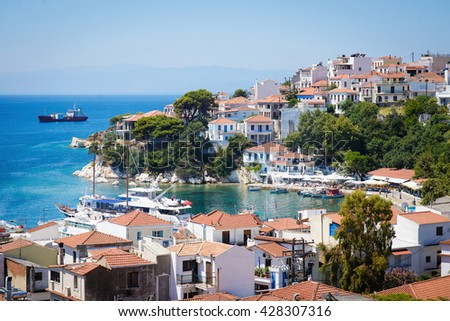 View of Skiathos town in Greece - stock photo