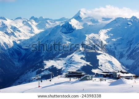 View of skiing area on Kitzsteinhorn glacier - stock photo