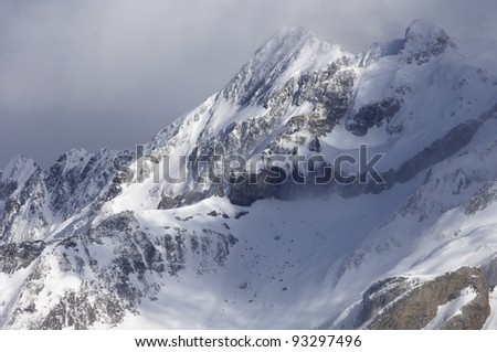 view of snowy mountains in French Pyrenees, France - stock photo