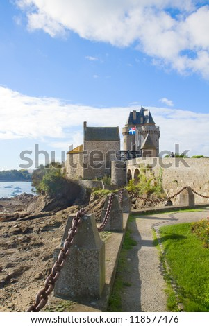 view of Solidor Tower, Saint Malo, Brittany France - stock photo