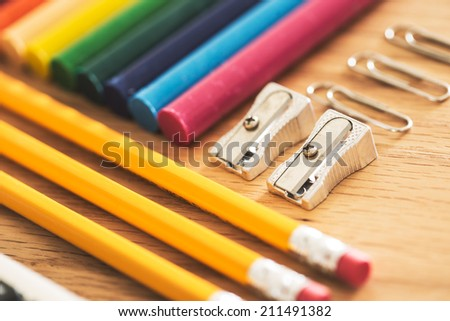 View of some school supplies, ready to back to school. - stock photo