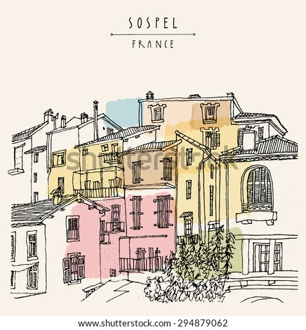 View of Sospel, France, Europe. River bank, residential houses, lamps and trees. Summer time vacation artistic postcard template with hand lettered title and space for your text. Retro style