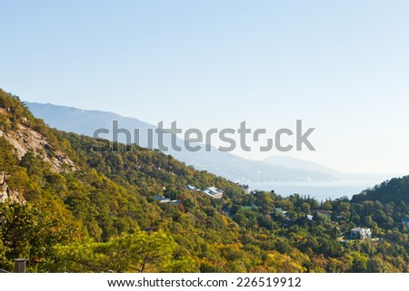 view of South Coast of Crimea and slope of khrestova mount in autumn - stock photo