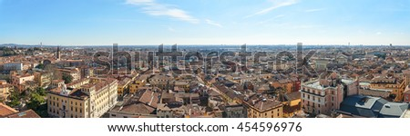 View of South-Eastern of Verona city from Torre dei Lamberti - stock photo