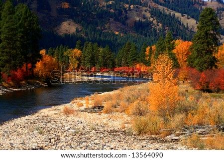 View of south fork of the Payette River from Alder Creek bridge, Idaho - stock photo