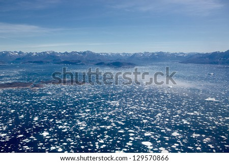 View of South Greenland Icefjord as seen from a helicopter - stock photo