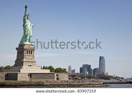 View of southern Manhattan and the Statue of Liberty - stock photo