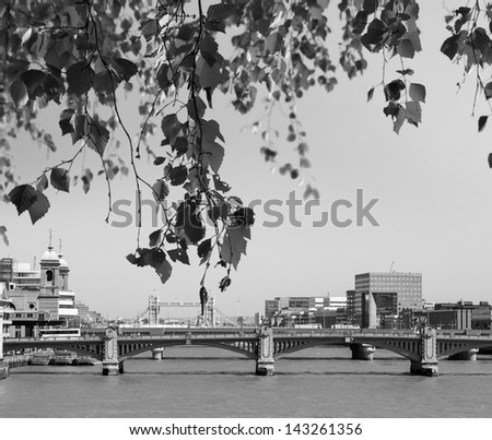 View of Southwark Bridge with Tower Bridge in the background behind the leaves. - stock photo