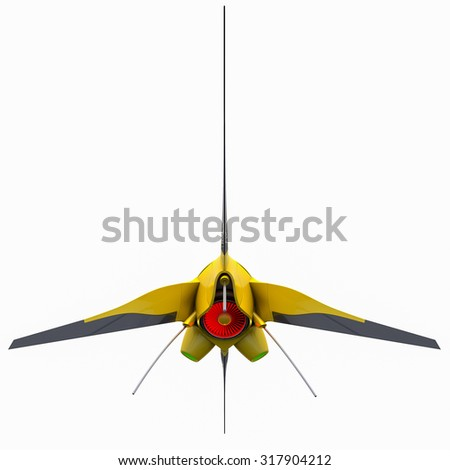 View of Spaceship for animation and game isolated futuristic - stock photo