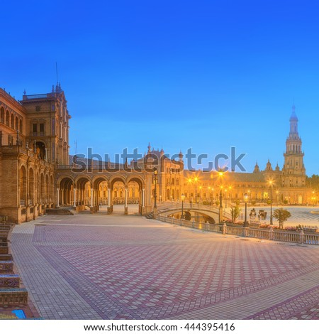 View of Spain Square (Plaza de Espana) on sunset, landmark in Renaissance Revival style, Seville, Andalusia, Spain - stock photo