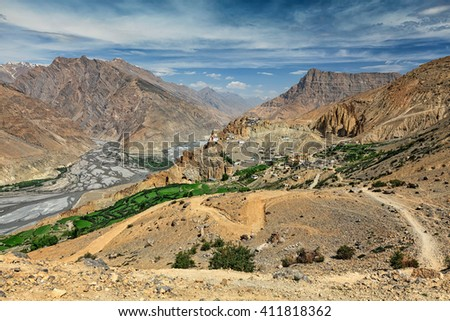 View of Spiti valley, Spiti river and Dhankar village and Dhankar gompa in Himalayas. Spiti valley, Himachal Pradesh, India - stock photo