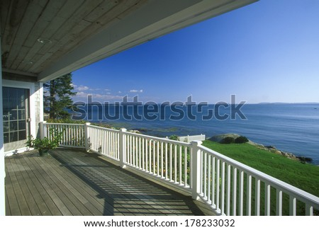View of Spruce Head Harbor, ME from front porch of home - stock photo