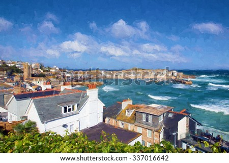 View of St Ives Cornwall England with harbour, boats and blue sea and sky, a traditional Cornish fishing town in the UK illustration like oil painting