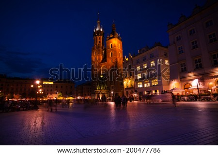 View of St Mary's Basilica, Rynek Glowny, Krakow - stock photo