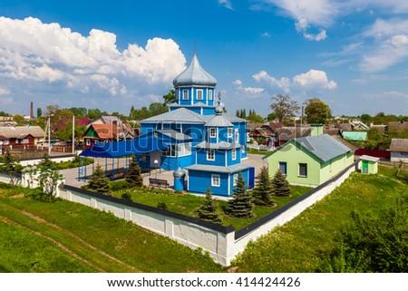 View of St. Nicholas Church in Kobrin city, Belarus  - stock photo