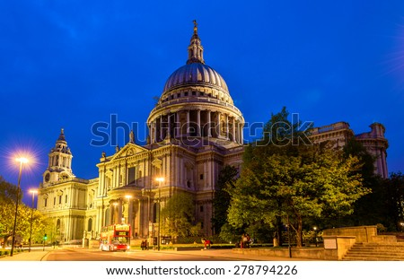 View of St Paul Cathedral in London, England - stock photo