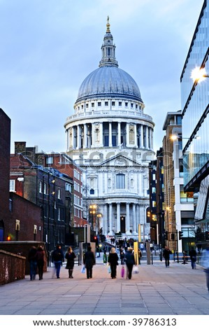 View of St. Paul's Cathedral in London from street at dusk - stock photo