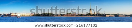 View of St. Petersburg. Peter and Paul Fortress in sunny day - stock photo