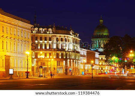 View of St. Petersburg.  Saint Isaac's Cathedral  from Palace Square in night - stock photo