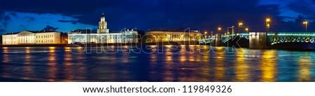 View of St. Petersburg. Vasilyevsky Island and Palace bridge in night - stock photo