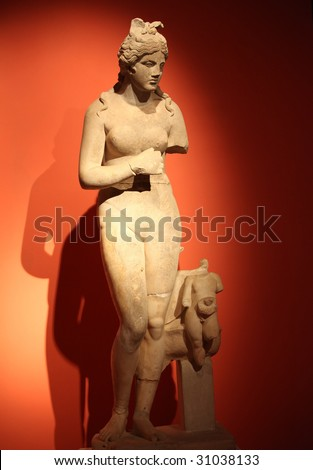 View of statue of Aphrodite - stock photo