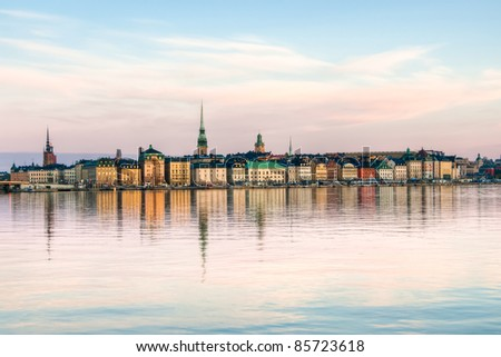 View of Stockholm city in Sweden, The Old Town (Gamla Stan) - stock photo