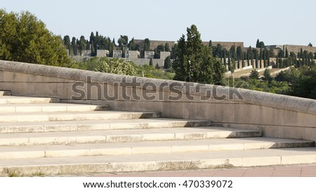 View of stone stairs for architectural backgrounds