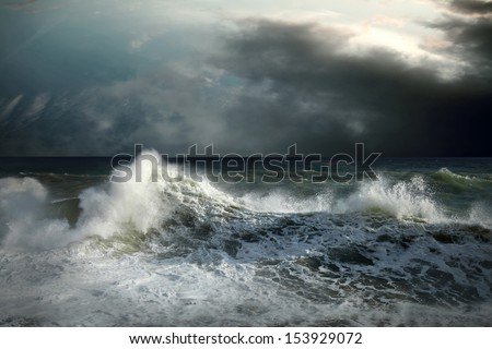View of storm seascape - stock photo