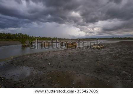 View of storm seascape in the Pengkalan Chepa, Kelantan, Malaysia - stock photo