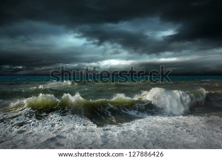 View of storm seascape (not poorlightning, it's drammatic light) - stock photo