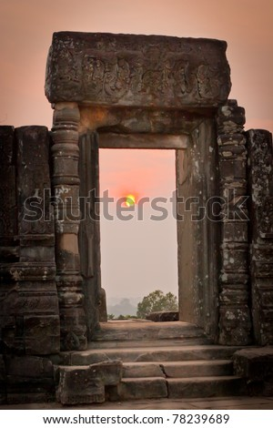 View of sunrise  at the temple on the hill, Angkor Wat, Cambodia - stock photo