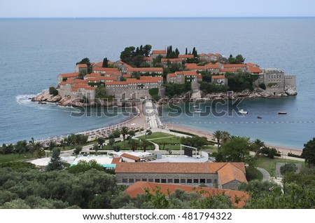 View of Sveti Stefan (St. Stefan) island in Montenegro. Travel in Europe.