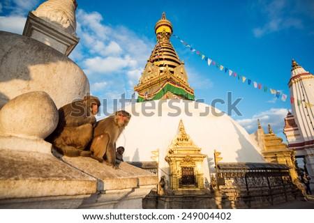 View of Swayambhunath Kathmandu, Nepal. - stock photo